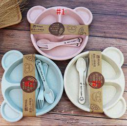 Cartoon Baby Kids Tableware Set Wheat Straw Dinnerware Feeding Food Plate Dishes Bowl Set With Spoon Fork ECO-friendly Tableware RRA4185 on Sale
