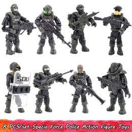 Toptan satış 8 Adet / takım Action Figure Oyuncaklar Specia Force Polis Mini Bloklar Oyuncak Erkek Askerler Ordu Hareketli Model Kitleri Eğitim Çocuk Oyuncak