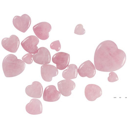 Wholesale drawing roses resale online - Gemstones Natural Rose Quartz Crystals Love Puffy Beautiful Heart Shaped Stone Love Healing Crystal Gemstone Products FWD5206