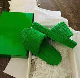 Handdoek Jacquard Stijl Slippers Comfortabele Spons Home Schoenen Zacht Platform Sliders Herfst Winter Womens Mens Slide Sandalen Slipper 4 Kleur met Doos