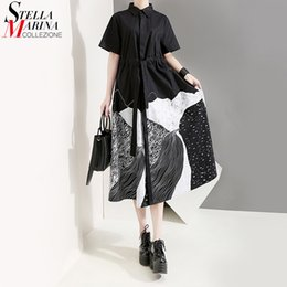Discount new style paint shirt New Korean Style Women Summer Black Painting Long Shirt Dress Sash Printed Plus Size Midi Ladies Casual Vintage Dress Robe 5128 210302