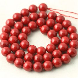 1Strand lot Round Red Coral Beads Natural Stone Fashion Jewelry Beads for Jewelry Making Diy Bracelet Necklace Loose Beads 112 Q2 on Sale