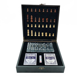 Wholesale Games 4 In 1 Wooden International Chess + Poker DIce Domino Family Party Entertainment Table Board game