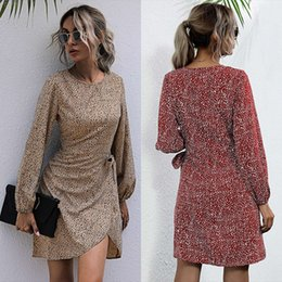 Wholesale spring long skirts for women resale online - 2021 spring new long sleeve short skirt leopard round neck lace up dress for women