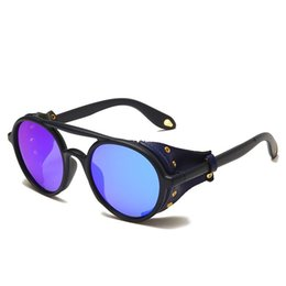 Discount wind sunglasses 2021 Newest Fashion Vintage Retro Wind Proof Round Frame Eye Wear Steampunk Rock Style Sports Cheap Sunglasses for Men Wholesale