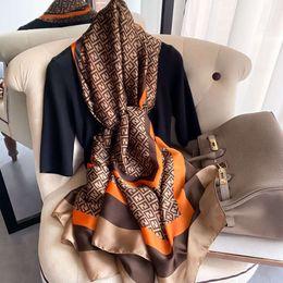 Spring, summer and Autumn Korean letter New forging imitation silk scarf women's decorative shawl sun protection beach towel on Sale
