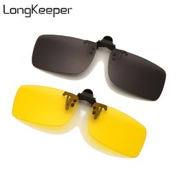 Discount photochromic night driving sunglasses LongKeeper Square Clip On Sunglasses Men Polarized Photochromic Sun Glasses Yellow Lens Car Night Driving Eyewear Accessories
