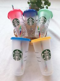 DHL starbucks Mug 16oz, 24OZ Tumblers cups Plastic Drinking Juice With Lip And Straw Magic Coffee Mug Costom Transparent cupDouble Durian Goddess Cup gift on Sale