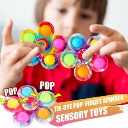 Vente en gros ETrue pop up it fidget spinner cravate colorant simple baisse fidgetes jouets poussant bulle fidgets popper filants sensoriels jouet sensoriel soulager