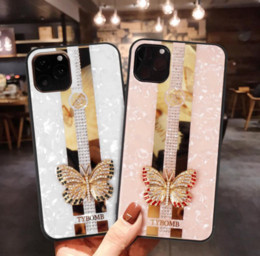 iphone 3d mais caso de bling venda por atacado-3D borboleta flor bling diamante hard pc tpu casos para iphone pro max xr xs max x mais tampa traseira moda