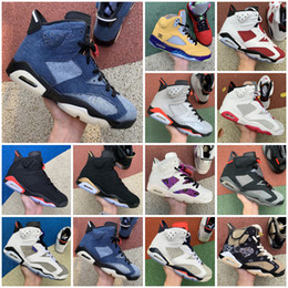 Wholesale dark green jeans men resale online - 2021 New Jumpman VI Blue Washed Denim Black Infrared Hare Black Cat Men Basketball shoes s jeans mens Sports Sneakers Size