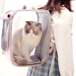 Venta al por mayor de Portadores de gatos, Cajeras Casas de lujo Transparente transpirable Mochila transpirable Mochila estereoscópica Durable Espacio grande Gatito Transporte Bolsos para P