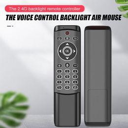 venda por atacado MT1 Voz Backlit Controle Remoto Gyro Sem Fio Fly Air Mouse 2.4G Smart for Android TV Caixa Linux PC