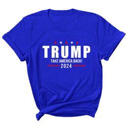 Опт 15 Стили Трамп 2024 Футболка Письма Печать Круглый Шере Футболка Повседневная США Президентские выборы Трамп Свитер с короткими рукавами
