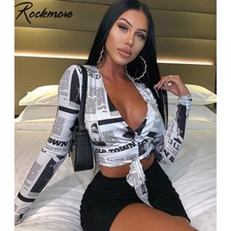 Discount womens deep v t shirt Rockmore Newspaper Letter Print Women T Shirt Deep V-neck Sexy Tees Shirts Long Sleeve Crop Top Streetwear Basic Tshirt Womens 210311