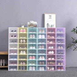30pcs Shoes Boxes Set Multicolor Foldable Shoe Storage Plastic Clear Home Shoe Rack Organizer Stack Display Box