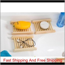 metal chrome plating 2021 - 100Pcs Natural Bamboo Wooden Soap Dish Wooden Soap Tray Holder Storage Soap Rack Plate Box Container For Bath Sqcaii I03Rb 70Wut