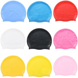 Wholesale 6Colours Multicolor Unisex Silicone Solid Swimming Cap Hair Waterproof Diving Cap Professional Swimming Hat Keep Hair Dry 181 X2 on Sale