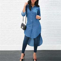 Wholesale long summer dresses sale for sale - Group buy Women Casual Long Denim Blouse Long Sleeve Fashion Shirt Loose Tops Maxi Dress Summer Clothing Vestidos Ropa Mujer Hot Sale