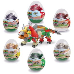 Model Building Kits Blocks Capsule Toy Dinosaur egg Zoology auto cars Trains City DIY Creative Bricks Toys gift for children on Sale