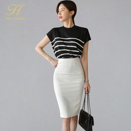 Wholesale womens work suits resale online - H Han Queen Summer Work Pieces Set Womens Stripe Short Sleeve Blouses Sheath Pencil Bodycon Skirt Elegant Casual Skirt Suit