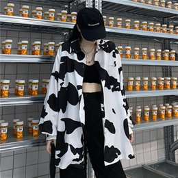 womens korean blouses Australia - Cow Womens Shirts Print Women Blouses Stand Collar Korean Style Fashion Autumn Button Up Shirt Loose Long Sleeve Leisure Tops