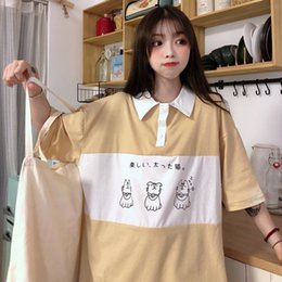 college t shirts Australia - 2020 Women's T-shirts Tops Japanese Kawaii Ulzzang Lazy College Cat Print Loose T-shirt Female Korean Harajuku Clothes For Women