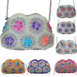 Discount designer beaded evening bags Handmade Crystal Beaded Bag One Shoulder Backpack Luxury Bag For Children Kids Women XMas Evening bags Travel Storage Bag 11Color WX9-1119