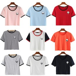 Wholesale alien clothing resale online - Womens Loose Print Short Sleeve Tee Shirt Casual Crop Top Alien Female Printing T Shirt Colors Fashion Trend Women s Clothing S XL