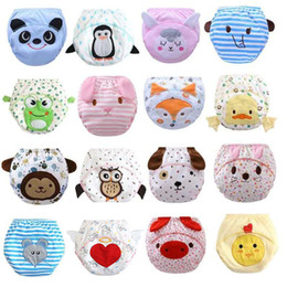 Discount xl washable cloth diapers Free DHL 16 Styles INS Animal Printed Diapers Pants Shorts Infant Girls Boys Cotton Elastic Training Pants Reusable Cloth Nappy