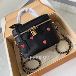 Gioco su Vanity PM BB M57482 Womens Mini Crossbody Borse in pelle Black Bianco Canvas Flowers Cuore Catena Borse Lady Makeup Bag M45165 M57118 in Offerta