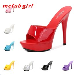 female kitten sexy 2021 - MCLUBGIRL 2021 Summer Slipper Fine Heel 13cm Slipper Waterproof Slides Sandal Platform Bottom Sexy Pumps for female LFD 210302