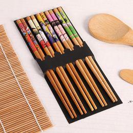 Wholesale Sushi Making Tools Bamboo Sushi Kit Including 2 Rolling Mats 1 Paddle 1 Spreader 5 Pairs Chopsticks HWA8017