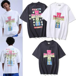 king shirt mens Canada - Mens Designer T-shirts New Street Fashion Kanye Jesus is king Jik cross T-shirt Unisex Summer Wear Short Sleeved shirts tops