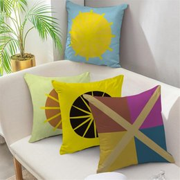 Discount colorful geometric pillows Fuwatacchi Colorful Cross Line Print Cushion Cover Geometric Throw Pillows Cover for Home Chair Sofa Car Decoration Pillowcases