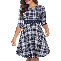 Wholesale summer dresses for fat women resale online - Big size XL dress for Fat MM Women Summer Dress Loose slim plaid plus size dresses women clothing vestidos