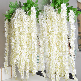 "wedding arch white flowers UK - White Wisteria Garland 70"" Hanging Flowers 5 strings For Wedding Ceremony Decor Silk Wisteria Vine Wedding Arch Floral Decor"