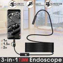 3-IN-1 7MM 10M / 5M / 2M / 1M Cámara de mini endoscopio Flexible IP67 Cable a prueba de agua Corequitro Cámaras de inspección Tipo-C USB para teléfono inteligente Android PC 6LEDS AJUSTABLE en venta