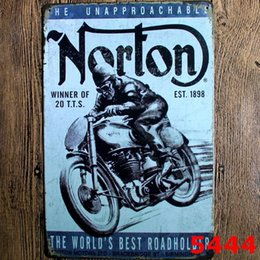 Wholesale poster designs for sale - Group buy Metal Painting Plate Motorcycles Metal Poster Iron Plates Wall Stickers Bar Club Wall Home Decor Designs WZW YW3190