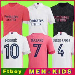 Real Madrid Jerseys 20 21 Camisa de Futebol de Futebol Hazard Sergio Ramos Benzema Asensio Camiseta Men + Kid Kit 2020 2021 Quarto 4º Humano em Promoção