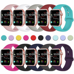 Wholesale band wristbands resale online - 62 Colors Silicone Strap Bands Replacement For Apple Watch Band Wrist With Adapters Accessories mm mm mm mm Watchstrap