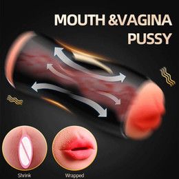 male masturbators machines UK - Blowjob Male Masturbator Men Sex Toys Vagina Real Pussy Pocket 10 Modes Vibrating Masturbators machine for man masturbating