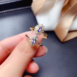 tanzanite cluster ring Canada - Weainy Oval 3 * 5mm Natural Tanzanite S925 Sterling Silver Ladies Exquisite Simple Boutique High Jewelry Ring