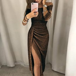 v neck cold shoulder dress UK - Sell Like Hot Cakes Women &35 Party Long Boho Sparkling Cold Shoulder High Slit Slim Maxi Plus Size Winter