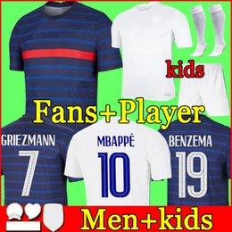 Venta al por mayor de France soccer jersey Euro 2020 2021 football shirt Camiseta de fútbol de Francia 100 aniversario 100 chandal del equipo de la Copa del mundo de MBAPPE kit de los hombres + niños