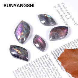 1pc 3-5cm Natural crystal Elongated stone Leaf shape Purple moonlight stone Random Gemstone For DIY accessories