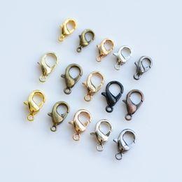 Venta al por mayor de 10 mm Silver Bronce Gold Chapado Langosta Clasca Class Class Conector Joyas DIY para los hallazgos de la joyería Color mixto 100pcs / lot