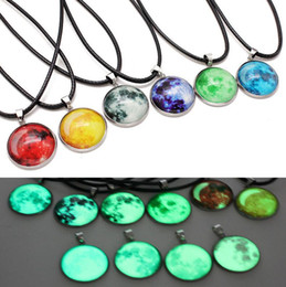 astronomy gifts UK - Glow In The Dark Nebula Leather Necklace Galaxy Astronomy Pendant Space Universe Necklace ps0935