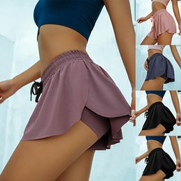 Wholesale L-905 Women Casual sports pants skirt yoga anti walking two pieces solid color of Slim sport gym breathable tight shorts
