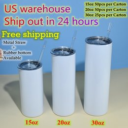 US warehouse 15oz 20oz 30oz Straight Sublimation Tumblers Clear Straws Stainless Steel Glossy blank white Double wall Vacuum Insulated Travel cups Local Delivery